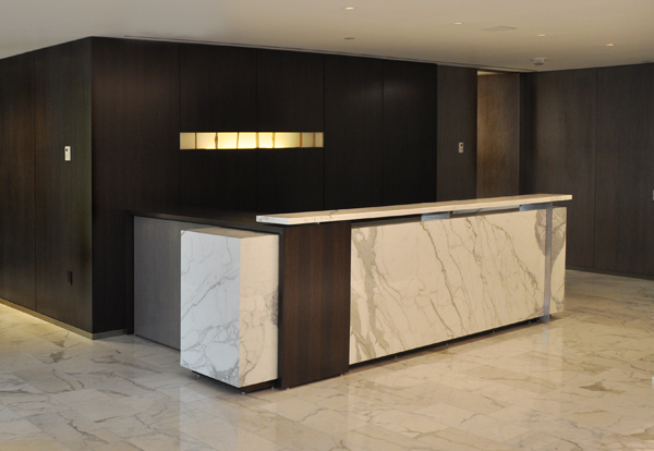 Calacatta Vision Marble 1 2 Solid Brushed Stainless Steel Supports The Chis Is Custom Stained Rift Oak To Match Millwork Paneling And